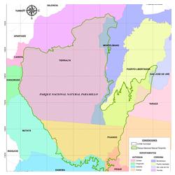 Mapa del parque Nudo de Paramillo