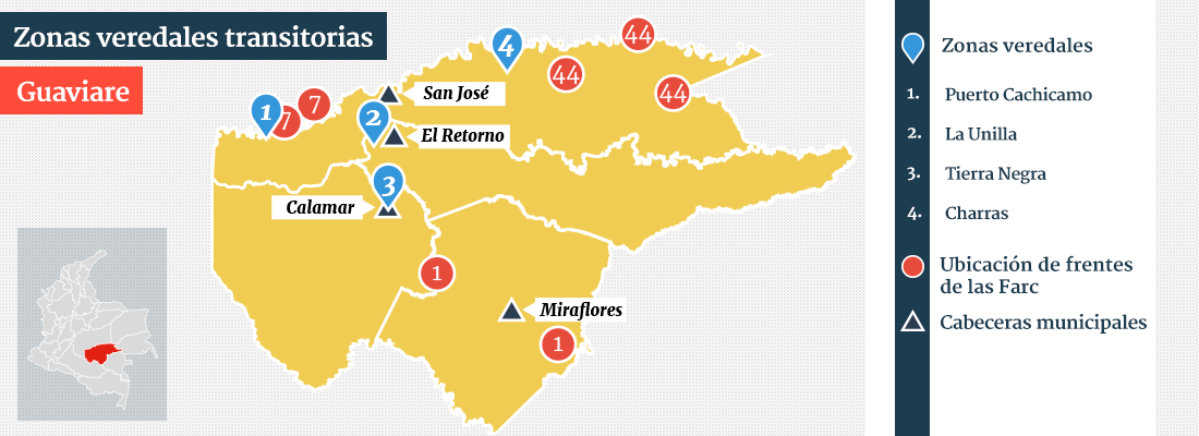 mapa zonas veredales guaviare