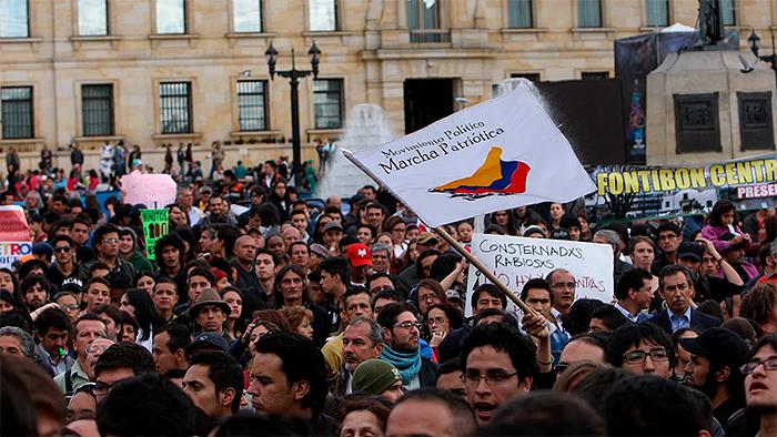 Manifestación y protesta de líderes sociales.