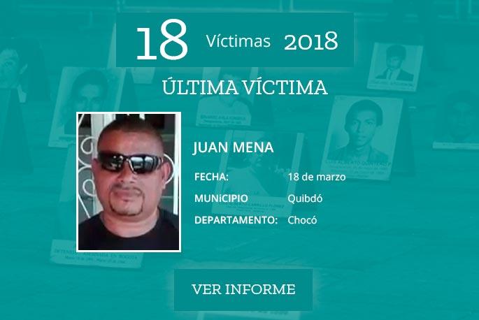 Lideres sociales asesinados en Colombia.