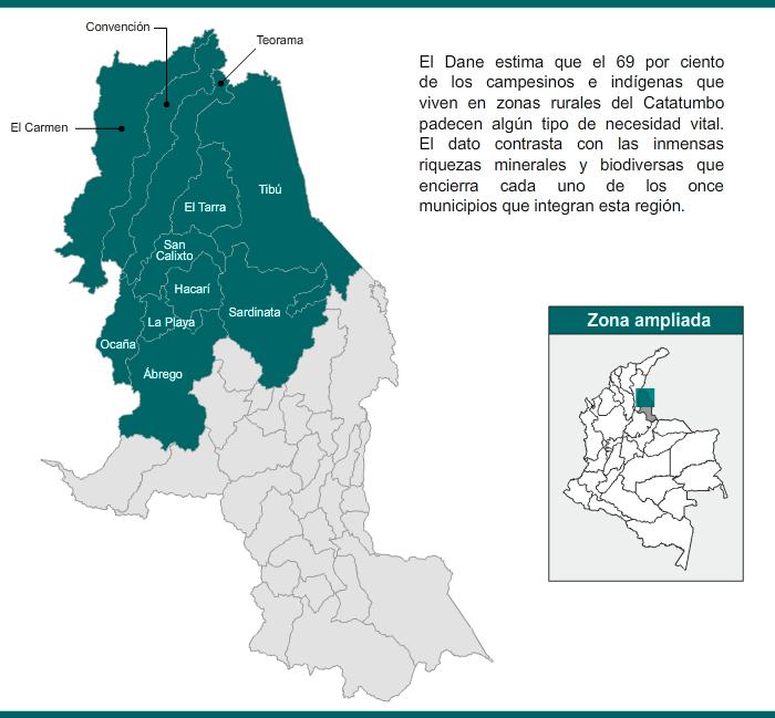 Mapa de la región del Catatumbo, Norte de Santander
