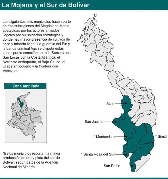 Mapa del sur de Bolívar