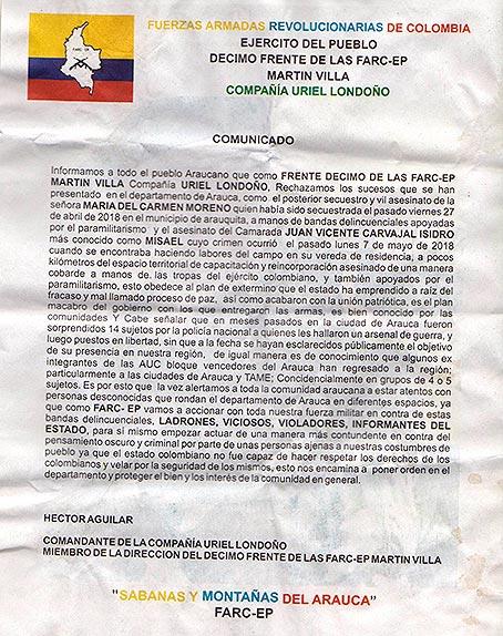 Radiografía posconflcto en Arauca